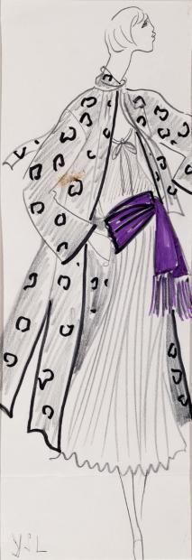 Yves SAINT LAURENT Dessin sur papier à la mine de plomb rehaussé de gouache