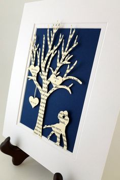 Personalized Anniversary Gift Tree  3D Paper Art by HandmadeHQ, $25.00