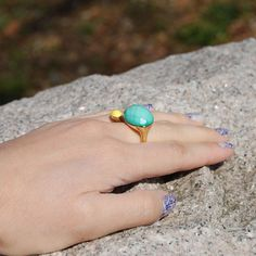 double ring with faceted turquoise and yellow porcelain by Helena Rohner SS14 #helenarohner #ring #turquoise #porcelain