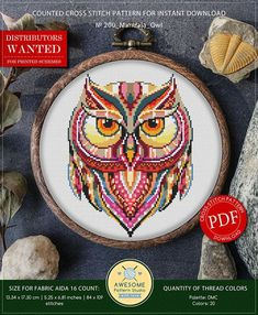 This is modern cross-stitch pattern of Mandala Owl for instant download. You will get 7-pages PDF file, which includes: - main picture for your reference; - colorful scheme for cross-stitch; - list of DMC thread colors (instruction and key section); - list of calculated thread