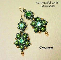 Beading tutorial instructions - beadweaving pattern beaded seed bead jewelry - beadwoven beadwork - PENDORA earrings