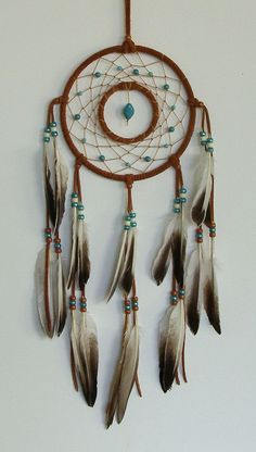 Double Ring Rust & Turquoise with Duck Feathers Dream Catcher- 7 inch: