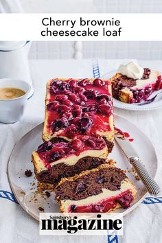 This cherry brownie cheesecake is a combination of our favourite desserts in one easy-to-slice loaf cake. It's a fun bake that's perfect for celebrations. Get the Sainsbury's magazine recipe Brownie Cheesecake, Blueberry Cheesecake, Cheesecake Recipes, Loaf Recipes, Baking Recipes, Cherry Brownies, Decadent Cakes, Loaf Cake