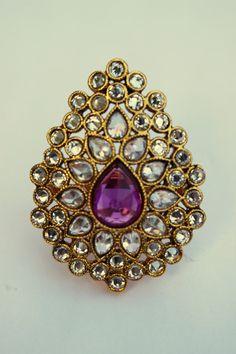 Afsana Kundan Ring Glamorous kundan-style ring with a unique shape. Measures 5cm x 3.5cm across. Adjustable.