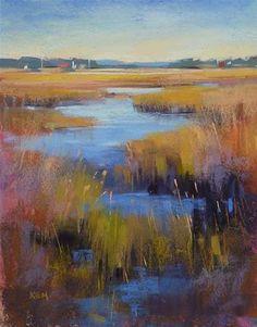 """New Marsh Painting...Interpreting a Photo"" - Original Fine Art for Sale - © Karen Margulis"