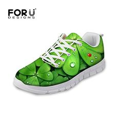 FOR U DESIGNS Green Clover Print Breathable Running Shoe Women Outdoor Sneakers US 8 *** Visit the image link more details.
