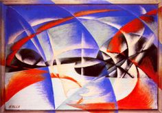 Landscape - Artist: Giacomo Balla Completion Date: 1913 Place of Creation: Italy Style: Futurism Genre: abstract painting Technique: oil Material: canvas Italian Painters, Italian Artist, Abstract Painting Techniques, Abstract Art, Movement Drawing, Giacomo Balla, Italian Futurism, Futurism Art, Picasso