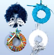 Yarn wreaths -- what a fun idea for using remainders or showing off other fab yarns!