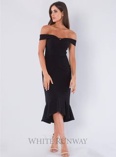 Rosetta Midi. A gorgeous midi dress by Australian brand Love Honor. An off shoulder style featuring a frilled hemline. Perfect for Bridesmaids and Wedding Guests.
