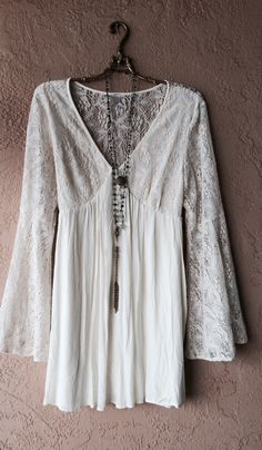 Image of Free People Gypsy Goddess Cowgirl  Ivory lace bell hippie boho sleeves