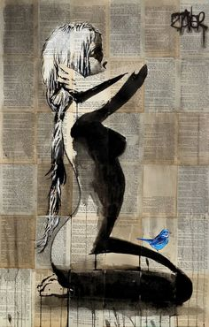 "Saatchi Art Artist Loui Jover; Drawing, ""the bird lover"" #art"