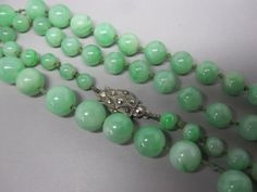 ART DECO c.1930s STERLING SILVER  JADEITE JADE BEADS NECKLACE 20""