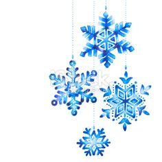 Watercolor snowflakes Royalty Free Stock Photo | istockphoto