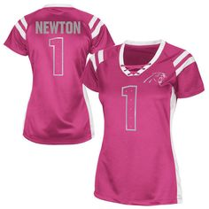 Women's Carolina Panthers Cam Newton Pink Draft Him Shimmer V-Neck... ($60) ❤ liked on Polyvore featuring tops, t-shirts, pink, v neck t shirts, vneck t shirts, pink top, shimmer tops and majestic tops