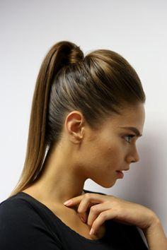 Super-sleek pony tail. Get the look here: http://www.elle.co.za/the-ponytail-three-ways/#