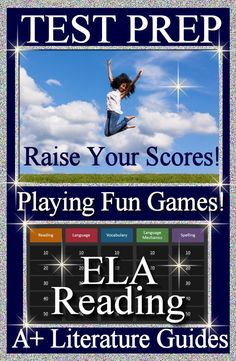A total of EIGHT GAMES - ELA - Reading TEST PREP Bundle for Grades 6 - 8.  Raise your standardized test scores by playing EIGHT fun review games!  Learn about spelling, vocabulary, reading, language, and language mechanics.