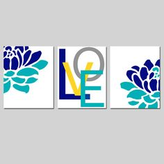 Floral Love Trio - Set of Three 8x10 Prints - Modern Wall Decor - Choose Your Colors - Shown in Yellow, Gray, Navy Blue, Turquoise, and More on Etsy, $55.00