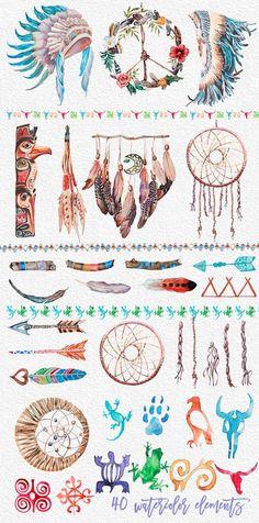 Watercolor Indian Clipart Set,Tribal,Headdresser,A Cherokee Indian Tattoos, Native American Tattoos, Native American Symbols, Native American History, Cherokee Indian Art, Cherokee Rose, Cherokee Sport, American Indians, Cherokee Nation