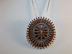 Vintage Zuni Tribe Sterling Silver and Red Coral Needlepoint Pendant Necklace / from DanPickedMinerals, $85.00