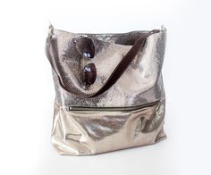Gold Hobo Bag Metallic Leather Tote Lined Leather by gmaloudesigns