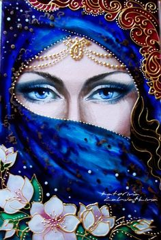 "BUY Picture on the glass ""Mystery of the East"" - colorful, east, oriental beauty, girl, Eyes - - Fantasy Kunst, Fantasy Art, Images D'art, Art Visage, Inspiration Art, Pencil Art, Face Art, Indian Art, Art Pictures"