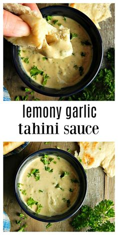 Lemon Garlic Tahini Sauce - Frugal Hausfrau That sauce that's served with wraps and pitas in the Middle Eastern restaurants? That's a Lemon Garlic Tahini sauce & it can be made in minutes. Lebanese Recipes, Greek Recipes, Whole Food Recipes, Cooking Recipes, Sauce Tahini, Tahini Dip, Tahini Paste, Mediterranean Sauce, Lemon Garlic Sauce