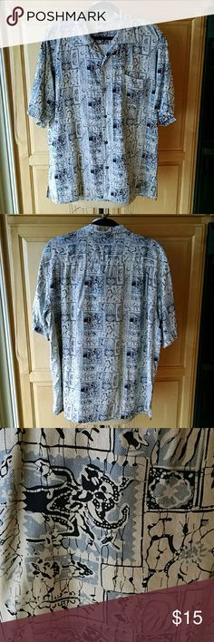 Silk herringbone twill men's shirt Short sleeve casual shirt in simulated batik print. See close up for design. One pocket on front. Coconut shell buttons. Great gift for Dad or brother. Vintage Silk Shirts Casual Button Down Shirts