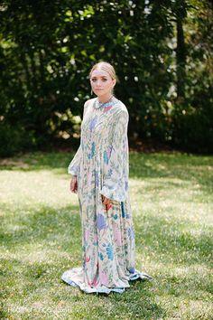 Olsens Anonymous Blog Ashley Olsen Molly Fishkin Wedding Floral Print Maxi Dress Long Maxi Floral Print Gown Kimono Dress Caftan Kaftan Prin...