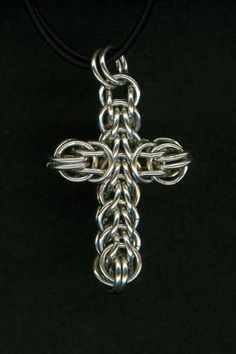 chain maille cross pendant