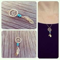 Dream catcher necklace from gold filled with leafs and turquoise stones on Etsy, 139.00₪