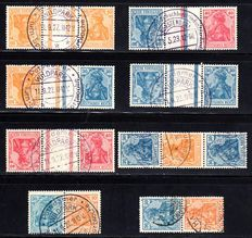 German Reich 1921 - Batch se-tenants Germania from stamp booklet sheets 29 + 31 on stock card