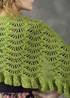 Crochet shawl pattern Toulouse Wrap By Andrea Graciarena - Free Crochet Pattern - (naturallycaron) Crochet Woman, Knit Or Crochet, Crochet Scarves, Crochet Crafts, Crochet Clothes, Crochet Stitches, Irish Crochet, Crochet Jacket, Shawl Patterns