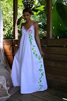 Lingerie de mariée princesse fleur coton Chemise de nuit à la main coupé Appliqued Cottage Shabby Chic vêtements de nuit