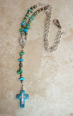 Arizona Turquoise Chip Silver Miraculous Rosary Necklace W/ Turquoise Cross