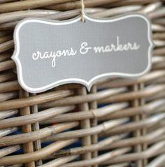 chalkboard labels, baskets, storage