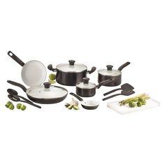 T-Fal 14 Piece Initiatives Ceramic Cookware Set - Black