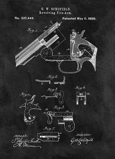 Smith And Wesson Model 3 Patent Drawing by Dan Sproul  #PatentDrawing