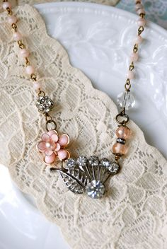 Lovely sweetheart. vintage assemblage shabby chic necklace. tiedupmemmories