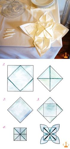 Fancy Folded Flower Paper Napkins for Tabel DECOR - Top 10 Creative DIY Napkin Projects