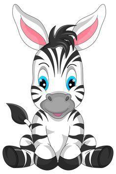 Cute Zebra Cartoon PNG Clipart Image