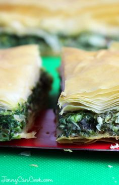 Greek Spinach Pie (Spanakopita) Recipe from Jenny Jones (JennyCanCook.com) - There's an easier way to make spanakopita with fresh baby spinach and feta cheese inside layers of flaky phyllo pastry.