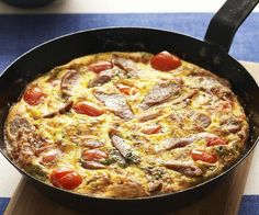 Sausage, tomato and basil frittata Vegan Recipes Easy, Beef Recipes, Chicken Recipes, Egg And Bacon Pie, Sausage Cassoulet, Curried Sausages, Vegetarian Lasagne, Lasagne Recipes
