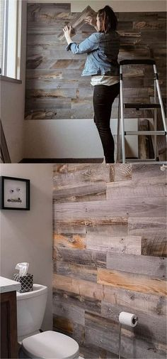 30 best DIY shiplap wall and pallet wall tutorials and beautiful ideas for every room. Plus alternative methods to get the wood wall look easily! Pallet Wall Bathroom, Bathroom Wall Ideas, Pallet Wood Walls, Wall Wood, Pallet Ideas For Walls, Pallett Wall, Master Bedroom Wood Wall, Shiplap Bathroom Wall, Wood Wall Design