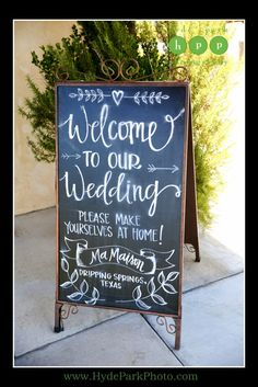 Welcome To Our Wedding chalkboards are a perfect way to greet your guests as they arrive at your venue! See more wedding ideas on the @hydeparkphoto blog http://www.hydeparkphoto.com/ma-maison-wedding/ #austinweddings #austinweddingphotographers #austinweddingvenues #mamaison #weddingideas #weddingreception #weddingchalkboard #texasweddingphotographers #destinationweddingphotographers