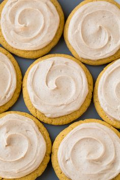 Pumpkin Sugar Cookies with Cinnamon Cream Cheese Frosting.