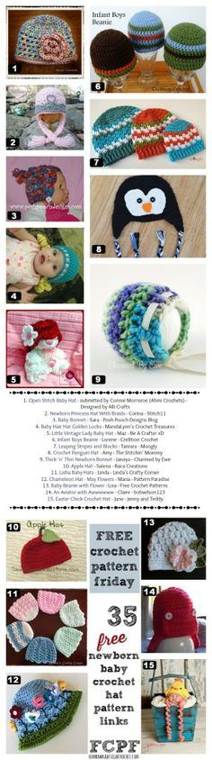 35 free crochet patterns for baby hats  #crochet