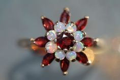 Vintage 14k Yellow Gold Australian Opal Garnet Cluster Cocktail Ring | eBay