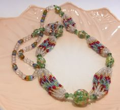 Green Venetian Bead and Multi Color Seed Bead by HometownVintage