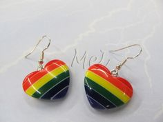 I just listed Heart shaped resin rainbow earrings on The CraftStar @TheCraftStar #uniquegifts