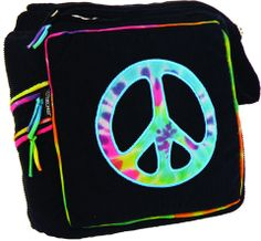 Black Corduroy Shoulder Bag with Peace Sign Embroidery (Large)